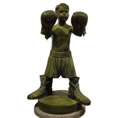 """Boxing Boy"" Large Naturalistic Bronze Sculpture"