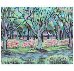 Impressionist Landscape Painting with Greens and Pinks