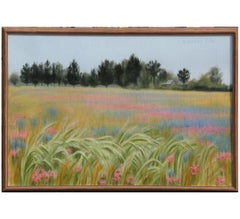 """""""Cedars with Phlox and Bluebonnets"""" Naturalistic Landscape Painting"""
