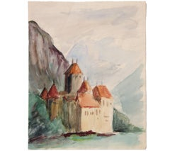 Watercolor Landscape Painting with a Castle