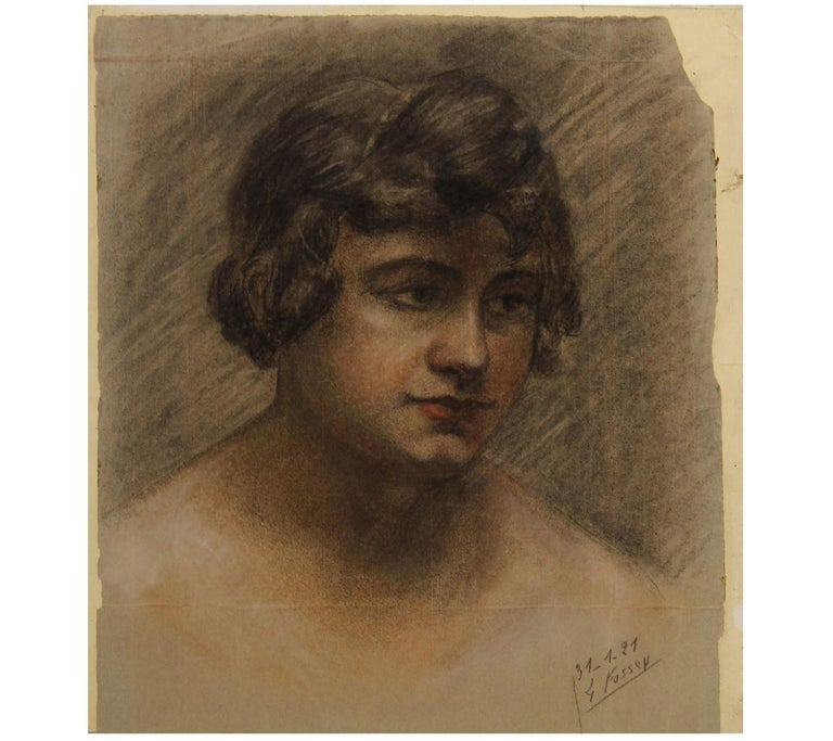 Naturalistic Portrait of a Woman - Art by Louise-Jeanne Cottard Fossey