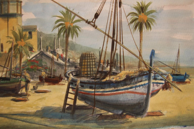 Naturalistic Watercolor European Harbor Scene For Sale 1