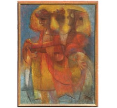 """""""Carnival"""" Early Texan Cubist Painting"""
