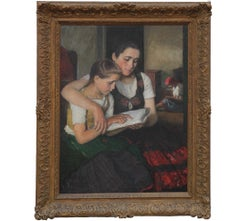 Naturalistic Portrait of Two Young Girls Reading