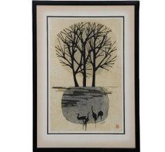 Minimal Black and White Japanese Woodblock Print 57 of 100