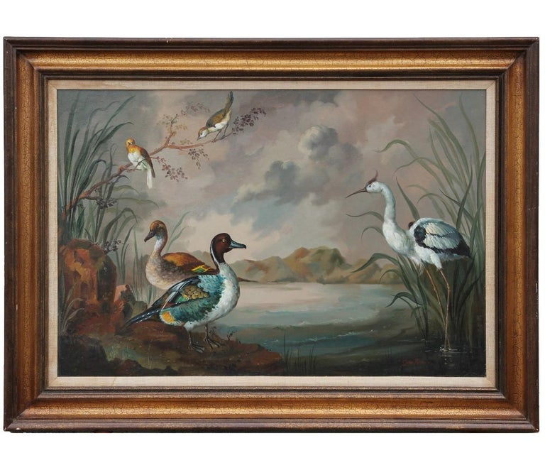 Gonzales Mata Animal Painting - Naturalistic Bird Painting with Landscape