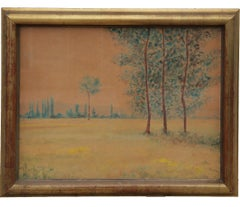 Early Modern Watercolor Impressionist Landscape with Trees