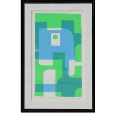 """""""Blue- Green Remnants"""" Geometric Pop Art Style Serigraph Edition 9 of 13"""
