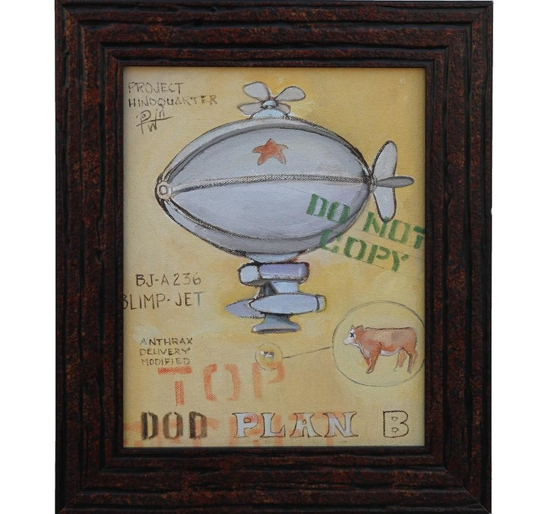"Henry David Potwin Abstract Painting - ""Blimp Jet"" Contemporary Surrealist Painting"