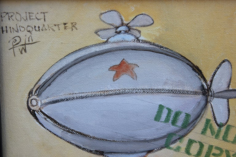 Contemporary abstract painting of a blimp with various socially charged text. The work is signed, titled, and dated by the artist. It is framed in a dark wooden frame. Dimensions without Frame: H 10 in x W 8 in x D 1 in.  Artist Biography: Born in