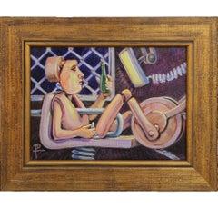 """Component on Break"" Surrealist Mechanical Figurative Painting"