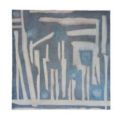 """Many Moons"" Blue Tonal Geometric Abstract Painting"