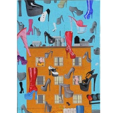 """Shoes Shoes II"" Surrealist Contemporary Abstract Painting"