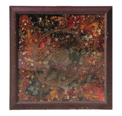 Early Contemporary Red and Black Gestural Abstract Painting