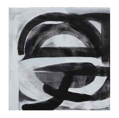 """Spar"" Black and White Gestural Abstract Painting"