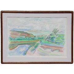 Large Impressionist Landscape Watercolor Painting