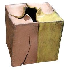 Minimal Distressed Ceramic Contemporary Box Sculpture