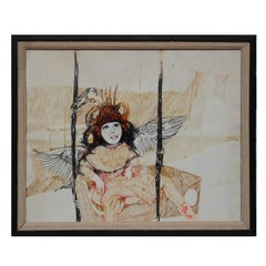 Modern Abstract Figurative Surrealist Drawing