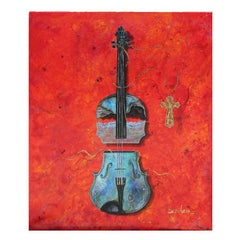 """The Violin"" Still Life Red Tonal Surrealist Painting"