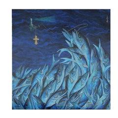 """Tsunami"" Surrealist Blue Tonal Ocean Painting"