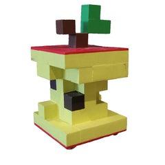 Pop Art Cubed Apple Core Wooden Sculpture