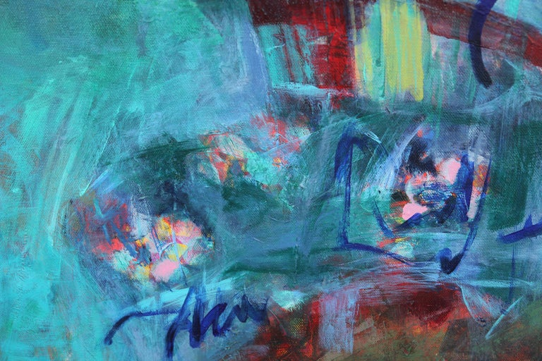 Blue tonal abstract diptych painting with gestural painterly reds, deep blues, and yellows within the blue composition. The canvas is signed by the artist on the back of the work. Susan Simpson works and lives in Houston, Texas. The canvases are not