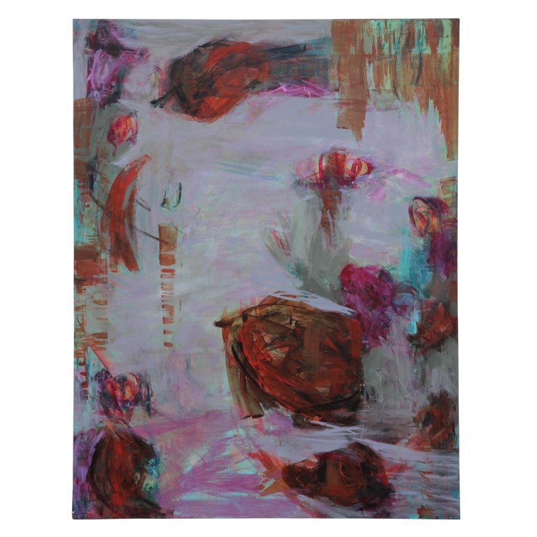 """Susan Simpson Abstract Painting - """"Tropic Oasis"""" Contemporary  Gestural Abstract Expressionist Painting"""