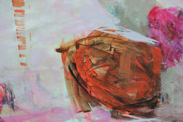 Contemporary gestural abstract expressionist painting with pink and orange tones suspended within a grey composition. The painting is signed by the artist on the back of the canvas. Susan Simpson is a Houston, Texas artist known for painting in a