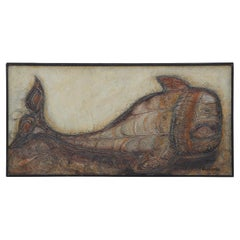 Modern Textured Neutral Tonal Painting of a Whale