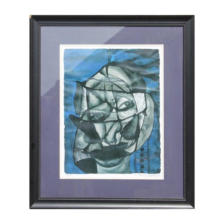 "Aziz Diagne Figurative Print - ""Infinite Imagination"" Blue Abstract Face Print AP"