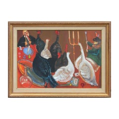"""Uczta XIII"" or Feast Modern Surrealist Genre Painting"