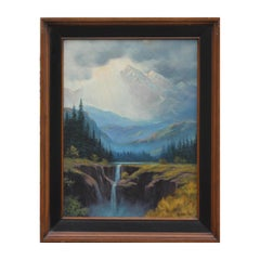 Idealized Naturalistic Mountain Landscape Painting
