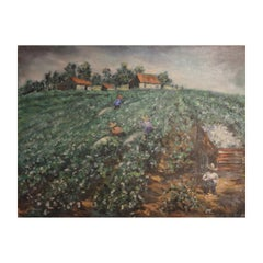 Impressionist Abstract Painting of Workers in a Field