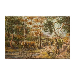 """Plans for the Trail"" Romanticized Naturalistic Western Landscape"