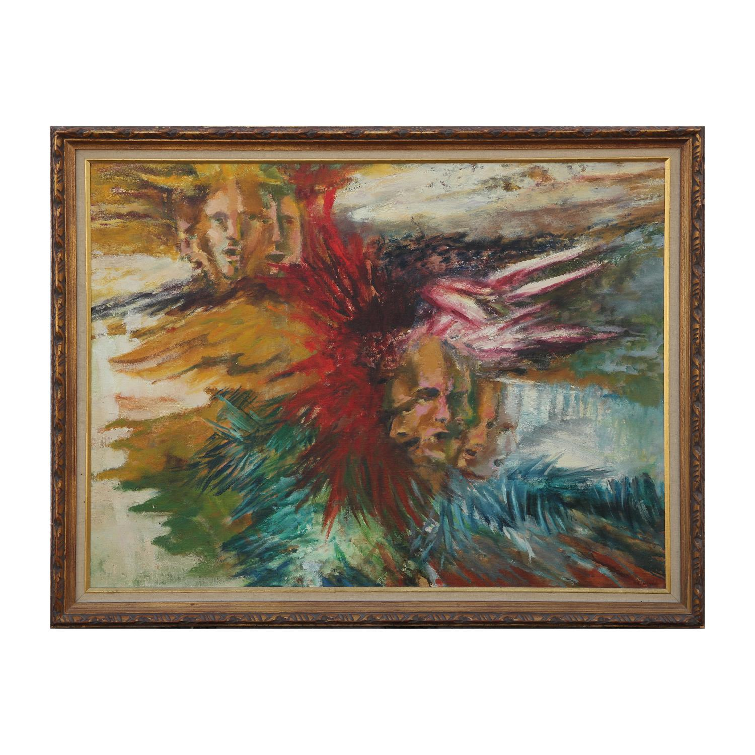 Surrealist Abstract Expressionist Painting With Faces