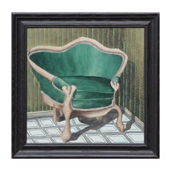 Naturalistic Watercolor Still Life of a Green Chair