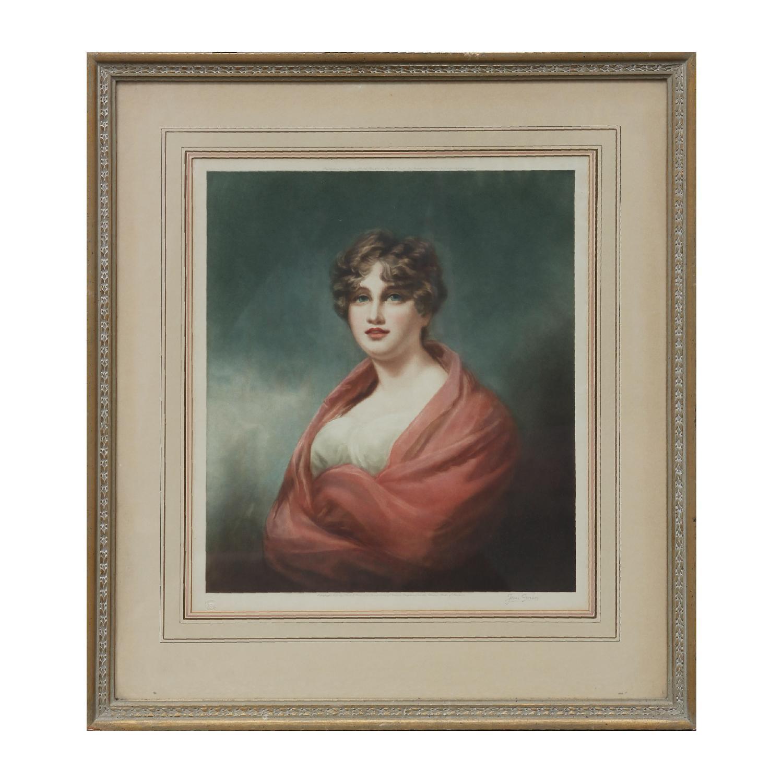 Naturalistic Colored Etching Portrait of Lady Carmichael