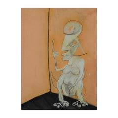 """The Thinker"" Modern Tribal Surrealist Figure"