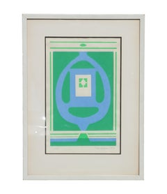 """Trinity"" Geometric Green and Blue Tonal Modern Abstract Serigraph"
