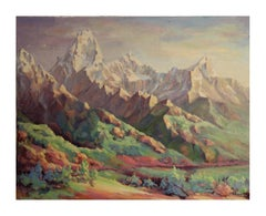 """Early Morning in the Tetons"" Pastoral Wyoming Landscape Painting"