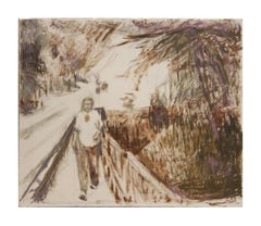 """Margo at Wimberly"" Sepia Tonal Impressionist Landscape Painting"
