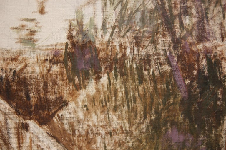 Impressionist landscape painting with a figure walking along a trail. The work is titled by the artist. The canvas is not framed.  Artist Biography: Stella Sullivan was born in Houston, Texas. She earned her degree in architecture from Rice