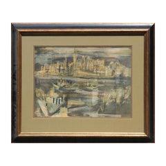 """""""Manhattan Nocturne"""" Cubist New York City Landscape"""
