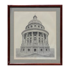 """""""Texas State Capital Dome"""" Architectural Realistic  Lithograph 419/980"""