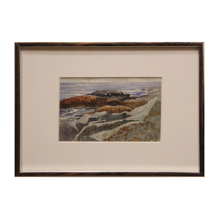 Small watercolor landscape painting by New York artist Robert Angeloch. The work is framed in a silver frame with a white matte. The artist signed the work in the bottom corner. Attached to the back is a Woodstock School of Art tag with titled,