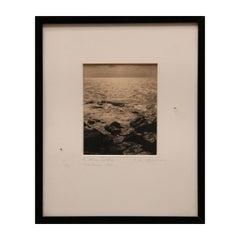 """Monhegam, Maine"" Seascape Black and White Woodstock School Print"