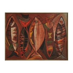 Red Cubist Style Tribal Fish Abstract Painting