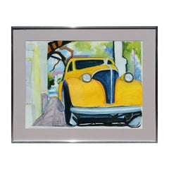 Colorful Yellow Car Modern Impressionist Painting