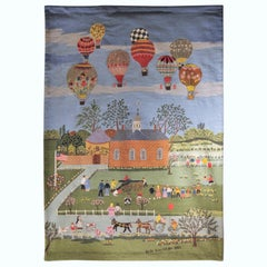 Modern Idealized  Figurative Tapestry of a School Yard