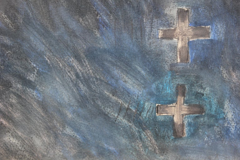 Modern Abstract Watercolor Blue Cross Landscape - Gray Abstract Painting by Peter Keefer